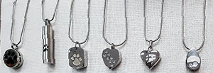 Pictures ofStainless Steel Cremation Jewelry available at the Cat n Dog Store